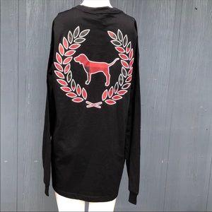 PINK VS Long Sleeve Black Campus Tee Shirt Large